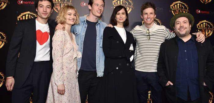 "(L-R) EZRA MILLER, ALISON SUDOL, CALLUM TURNER, KATHERINE WATERSTON, EDDIE REDMAYNE and DAN FOGLER at Warner Bros. Pictures ""The Big Picture at CINEMACON 2018,"" in Las Vegas, NV, USA - on behalf of FANTASTIC BEASTS: THE CRIMES OF GRINDELWALD."