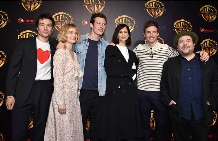 "(L-R) EZRA MILLER, ALISON SUDOL, CALLUM TURNER, KATHERINE WATERSTON, EDDIE REDMAYNE and DAN FOGLER at Warner Bros. Pictures ""The Big Picture at CINEMACON 2018,"" in Las Vegas, NV, USA - on behalf of FANTASTIC BEASTS: THE CRIMES OF GRINDELWALD."
